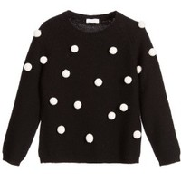Black Merino Wool Sweater with Ivory Pom-Poms