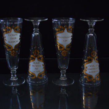 Vintage Atomic Starburst White and Gold Pilsner Glasses Set of 8 Mid Century Modern Salute Toast Numbered Bar Ware