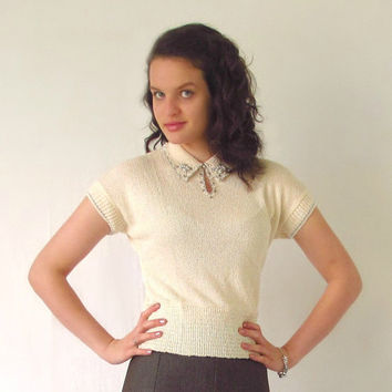 Vintage Knit Top w/ Rhinestones Pearls Beads by ItchforKitsch