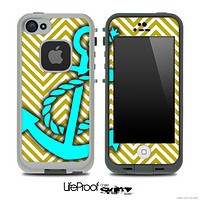 Gold/White V2 Colored Chevron and Turquoise Anchor Skin for the iPhone 5 or 4/4s LifeProof Case