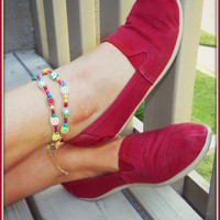 Clay Fruit and Colorful Wood beads Wrap Bracelet and Anklet Duo