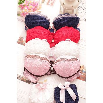 2016 new Japanese and Korean fashion sexy front buckle beauty back Rose push up cute girls underwear bras set free shipping 2017