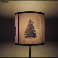 Woods Shadows lampshade lamp shade - holiday home decor, Christmas decor, winter decor, pine tree, bear, deer, woodland, forest, fall decor