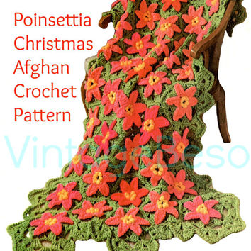 Instant PDF 1960s Poinsettia Christmas Afghan EASY Vintage Crochet Pattern Cover Blanket Granny Square Style Motif Holiday Crafts Xmas Throw