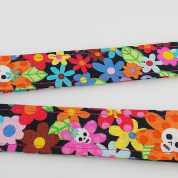 Skull Flower Lanyard Rainbow Skull Lanyard Skull Key Holder Teacher Lanyard Rainbow Flower Keychain Teen Key Lanyard Skulls and Flowers