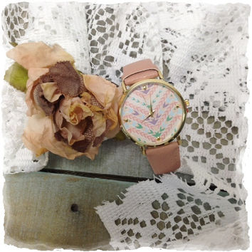 AZTEC large face watch - pink
