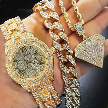 "Hip Hop Choker 18"" Full Iced Cuban & 1 Row CZ Crystal Chain & Iced Out Lion head pendant Necklace Combo Set"