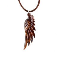 Angel Wing Pendant, Angel Wing Necklace, Wood Wing Necklace, Wing Pendant, Wing Necklace, Angel Wing Jewelry, Mens Necklace, Wood Necklace