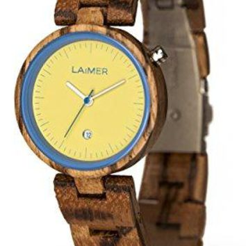 LAiMER Women's Wooden Watch NICKY BLAU - Wrist Watch made of natural Zebrano Wood - Stylish Fashion Piece for every Day