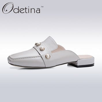 Odetina 2017 Brand Genuine Leather Fashion Women Summer Slingback Shoes Low Heel Pearls Ladies Square Toe Half Slippers Mules