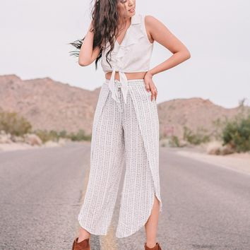 White Printed Tie Front Wrap Pants