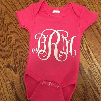 Monogrammed Onesuit, Baby Girl Onesuit, Personalized Onesuit