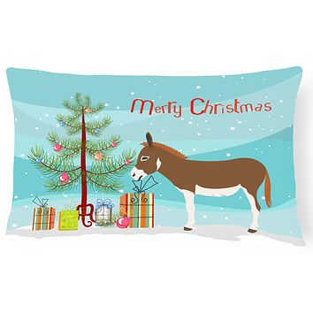 Miniature Mediterranian Donkey Christmas Canvas Fabric Decorative Pillow BB9214PW1216