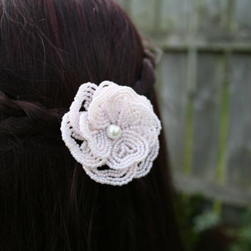 Heart Petals Big Soft Pink Flower Hair Clip (Bridal hair clip, bridesmaid gift, french beaded flower, Wedding hair piece)