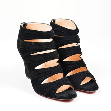 PEAPU2C Black Suede Christian Louboutin Developpa Ruched Cage Wedge Sandals