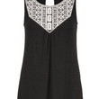 Embroidered Front Flowy Tank - Black