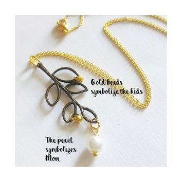 Family Tree Necklace , Olive Branch Necklace , leaves necklace , Mother of the Bride Gift , Mother of the Groom Gift , sister necklace