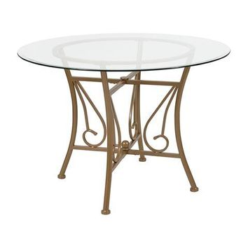 Princeton 42'' Round Glass Dining Table with Matte Gold Metal Frame
