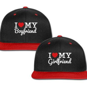 I Love My Boyfriend gf couple matching snapback cap