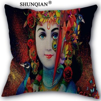 Custom Pillow Cover Little Krishna Home textile Square 45X45cm Decorative Cotton Linen Pillowcase