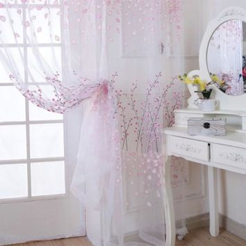 New Tulle Willow Door Balcony Curtain Panel Sheer Scarfs Window Screens Floral Print Curtain