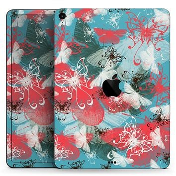 "Blue & Coral Abstract Butterfly Sprout - Full Body Skin Decal for the Apple iPad Pro 12.9"", 11"", 10.5"", 9.7"", Air or Mini (All Models Available)"
