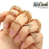 7pc Talo 14kt Gold Tone Knuckle Ring Set