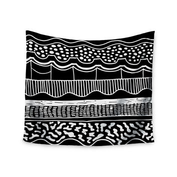 "Vasare Nar ""Abiodun Tribal"" Black White Wall Tapestry"