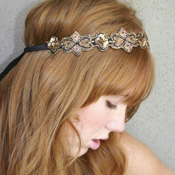hippie chic Bohemian tie headband for women and by BeSomethingNew