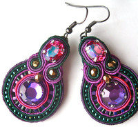 BLACKBERRIES soutache earrings in fuchsia, purple and emerald green with Swarovski crystals
