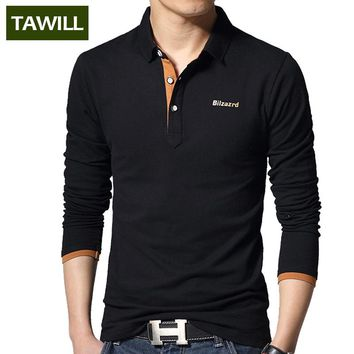 TAWILL Slim Casual polo shirt men Letter Turn-down Collar Cotton long-sleeve men's polo 2016 new arrival Asian Size L-5XL T102
