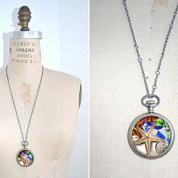 Pocket Watch Necklace  Ocean Memory by crazyfoxstudio on Etsy