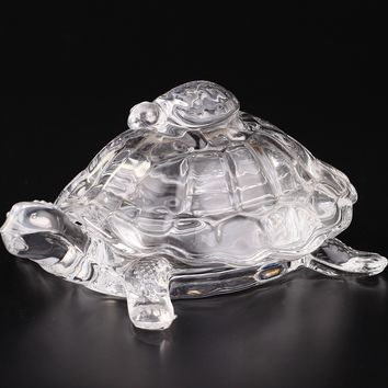 Glass Turtle with Mini Turtle on Top, Clear