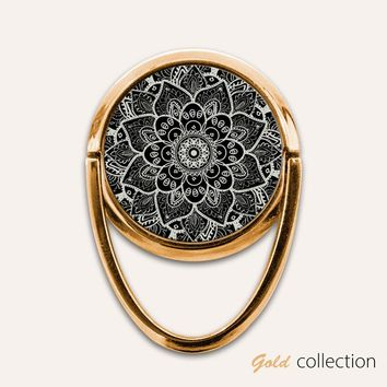 Gold Mandala Phone Ring Finger Holder Mount Stand Grips