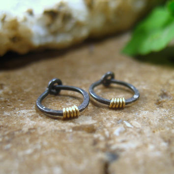 Hoop Earrings Niobium with Gold Hammered & Wrapped