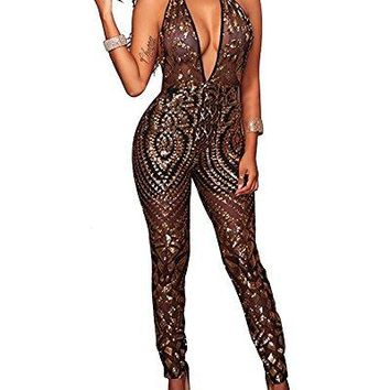 M.Brock Women's Sexy Deep V Neck Sparkly Sequin Mesh Sheer Sleeveless Bodycon Jumpsuit Party Clubwear