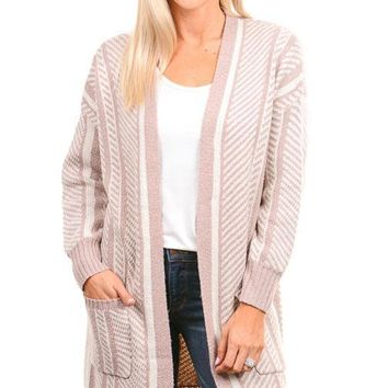 Dusty Pink Diagonal Stripe Cardigan