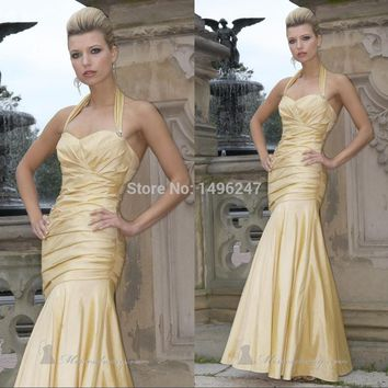 Top Fashion Sexy Halter Backless Mermaid Prom Dresses Pleat Satin Long Prom Dresses Imported Party Dresses vestido de festa