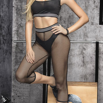 Sporty Black Three Piece Bra Set, Black Three Piece Bra Set - Yandy.com