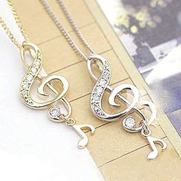 Fashion Gold Musical Note Pendant Chain Necklace at Online Cheap Fashion Jewelry Store Gofavor