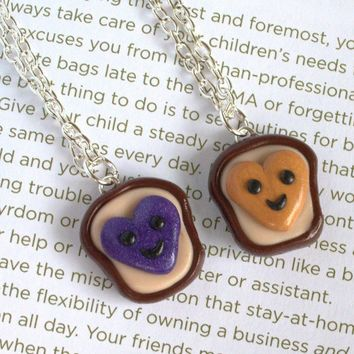 Handmade Heart Peanut Butter and Jelly Best Friends Necklaces (Also Great for Couples!)