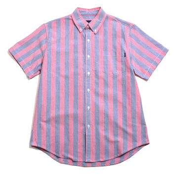 Seastripe Shortsleeve Button-Up Shirt Coral