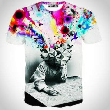 new fashion The Thinker Printing Abstract t-shirt Unisex Men Casual 3d t shirt for men harajuku tee shirt [10312511875]