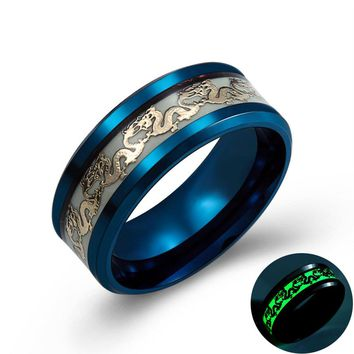 Luminous Dragon Rings for Men Black Gold Blue Color Stainless Steel Women Rings Trendy Glow In The Dark Male Band Ring Jewelry