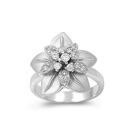925 Sterling Silver CZ Western Flower Ring 12MM