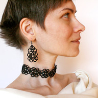 Black choker necklace Violets, black lace choker, black necklace, tatted lace, tatting lace, tatting jewelry.