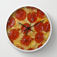 PEPPERONI PIZZA Wall Clock by The Griffin Passant