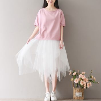 RETRO BAT SLEEVE PINK ROUND COLLAR SLEEVE T-SHIRT TOPS TIDE