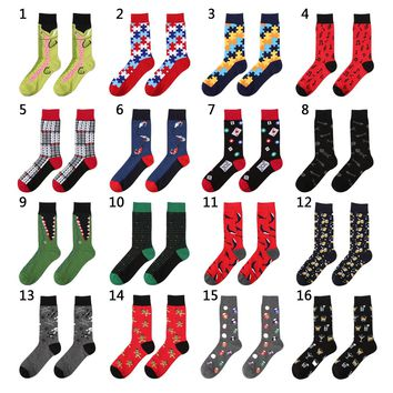 New 39-44 Socks Brand Women Men's Novelty Socks Combed Cotton Christmas Gift Chausettes Homme Animal Puzzle Design Funny Socks