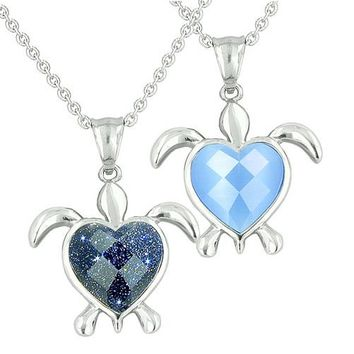 Amulets Love Couples Best Friends Turtle Heart Yin Yang Goldstone Candy Blue Cats Eye Necklaces